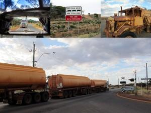Über 50 meter lange LKWs in Australien werden Road Trains genannt