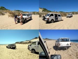 Am Strand im Sand mit dem Auto stecken geblieben