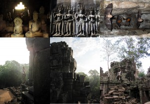 Klettern in den Tempelanlagen in Kambodscha