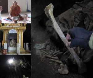 Knochenfund in einer Höhle bei Batambang in Kambodscha