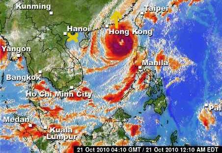 Vorhersage Taifun Megi in Vietnam
